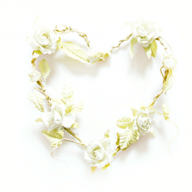 Coeur shabby chic de roses blanc crème