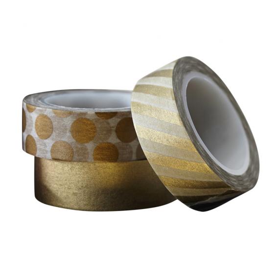 Rubans masking tape mix gold - Lot de 3