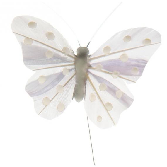Papillons gris perle et pois blancs - Lot de 4