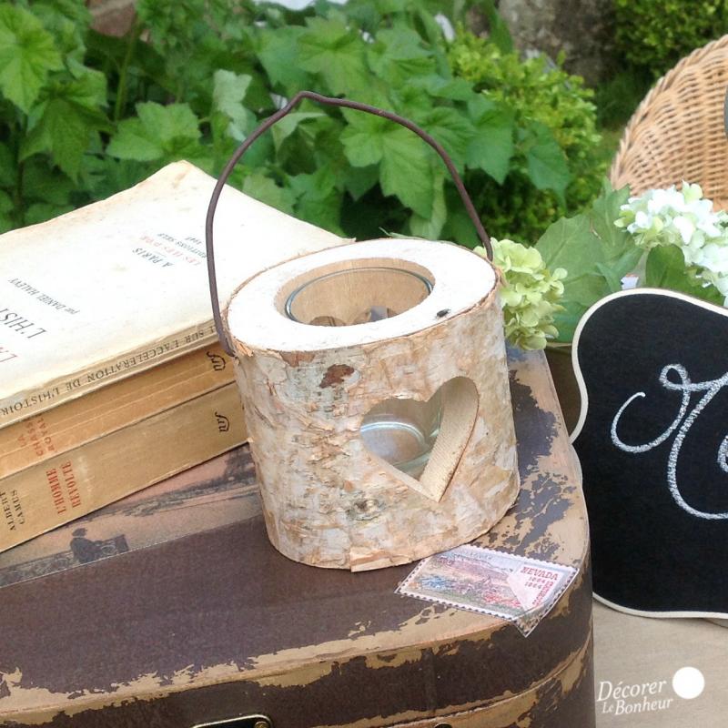 decoration de table photophore bois coeur rustique. Black Bedroom Furniture Sets. Home Design Ideas