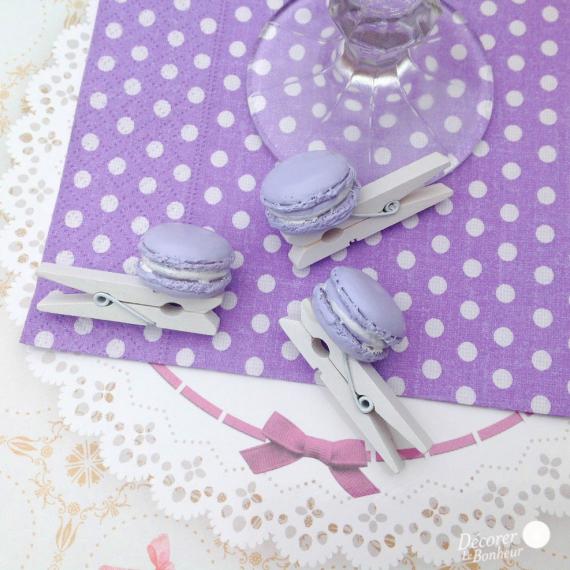 Mini pinces macaron violette - Lot de 8