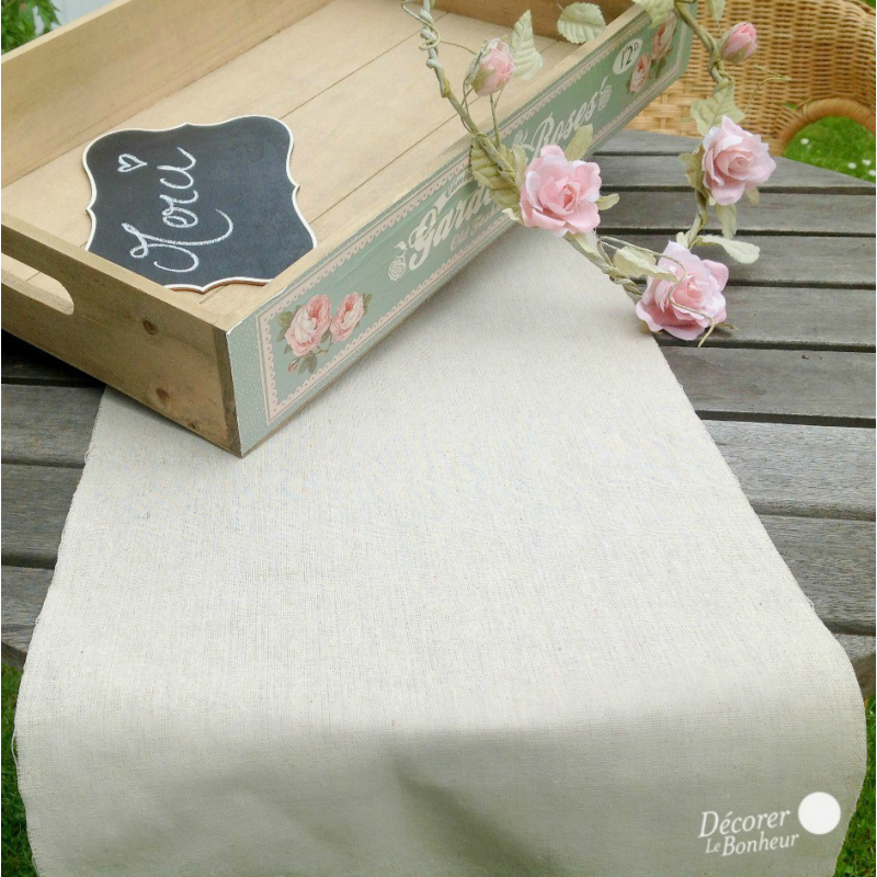 Decoration de table chemin de table fa on lin - Chemin de table lin ...