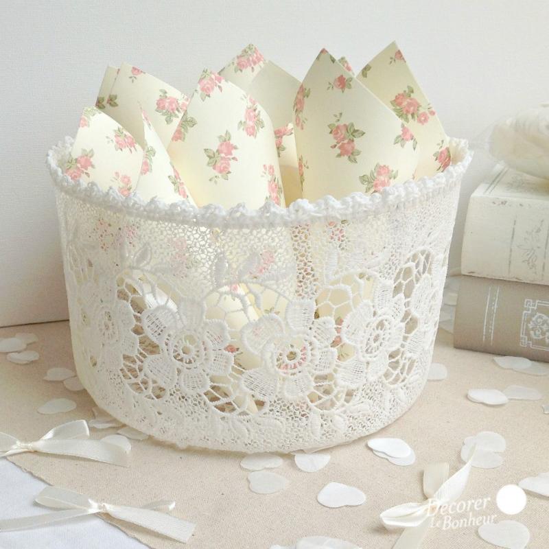 Decoration De Table Panier Crochet Dentelle Fleurs