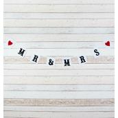Guirlande fanions blancs rétro chic Mr & Mrs