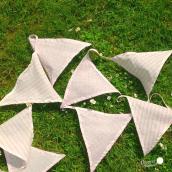 Guirlande fanions tissu rose patch mix - 4 mètres
