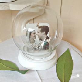 Globe verre rond socle bois blanc