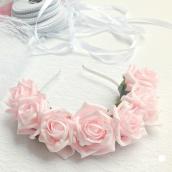 Couronne bandeau roses pétale et feuilles