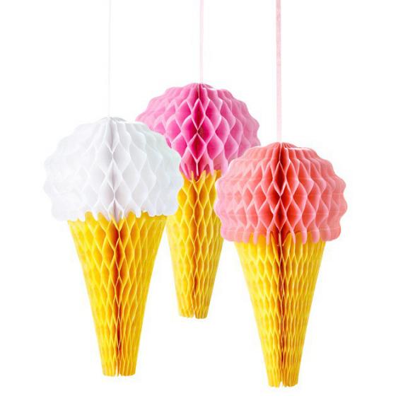Décorations papier Ice cream - Lot de 3
