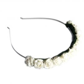 Couronne bandeau de petites roses blanches