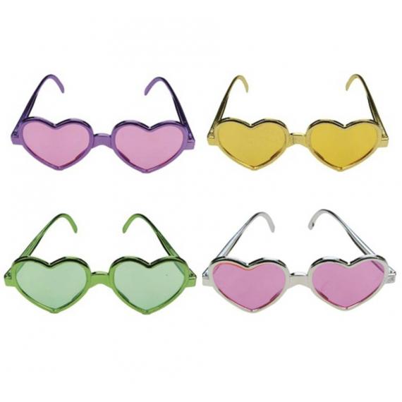 Lunettes coeur love color - Lot de 4