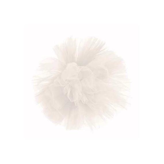 Pompom tulle blanc
