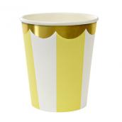 Gobelets rayures lemon feston or