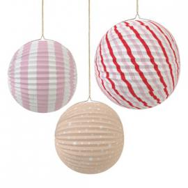 Lanternes rondes accordéon pink mix - Lot de 3