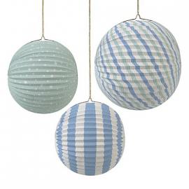 Lanternes rondes accordéon blue mix - Lot de 3