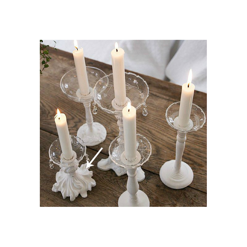 Decoration de table bougeoir rocaille patine blanc for Bougeoir shabby chic