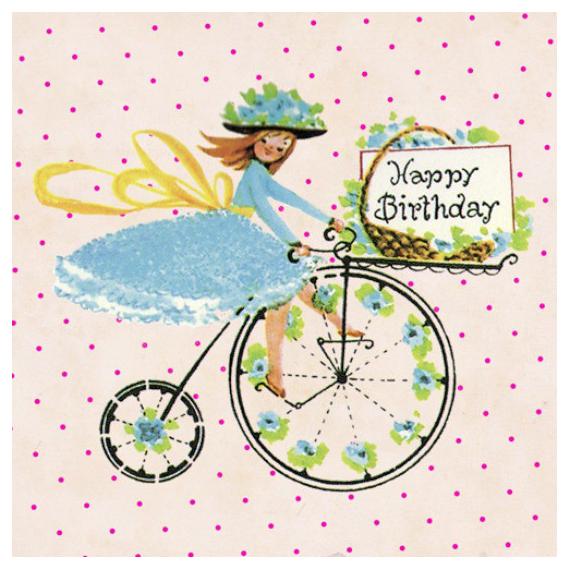 Carte anniversaire jolie mademoiselle - sous blister et enveloppe