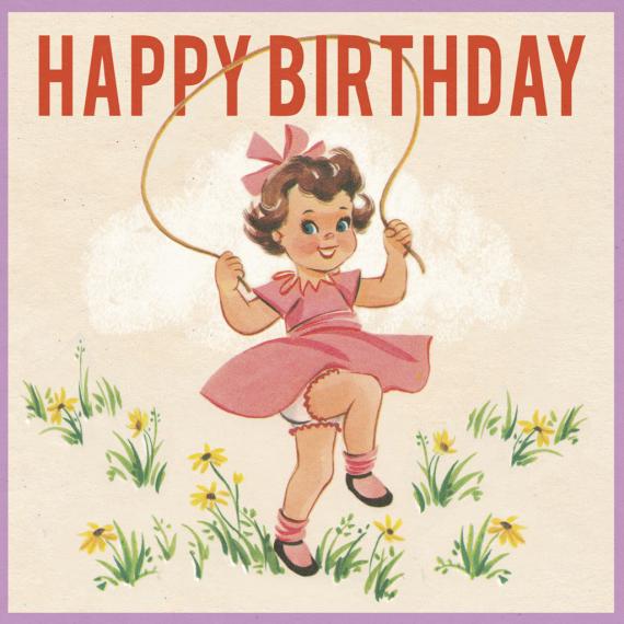 Carte anniversaire Pretty vintage girl - Blister et enveloppe