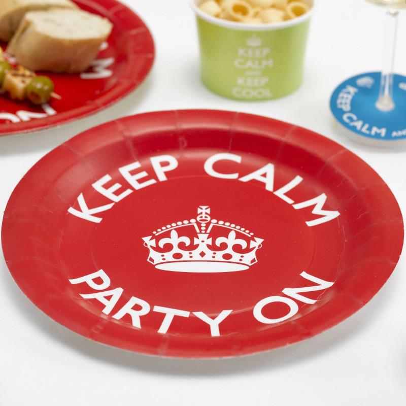 decoration de table assiettes keep calm rouges. Black Bedroom Furniture Sets. Home Design Ideas