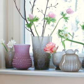Vase verre arty opaline violet