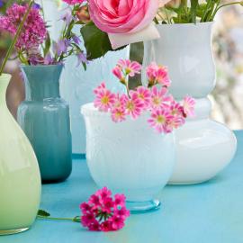 Vase verre tulipe opaline aqua