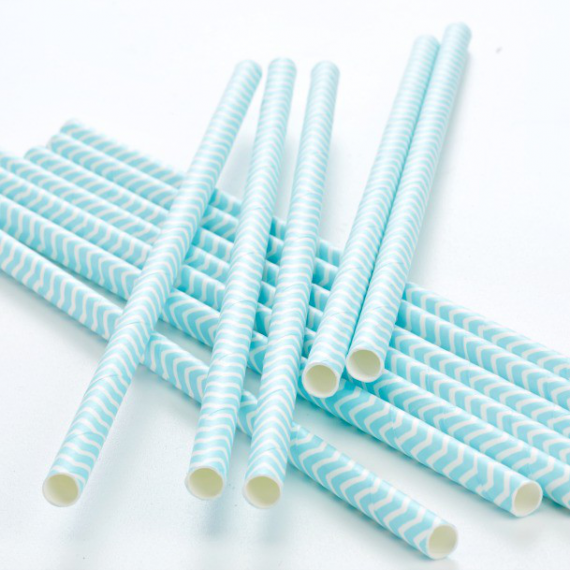 Pailles papier chevrons bleus - Lot de 25