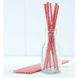Pailles papier chevrons rouges - Lot de 25
