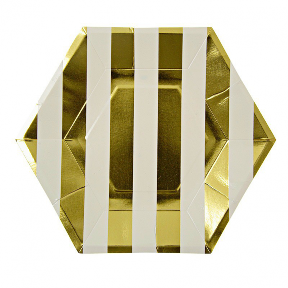 Assiettes octogonales rayures gold