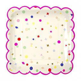 Assiettes carrées feston pink confettis