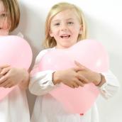 Ballons coeur rose tendre - Lot de 8