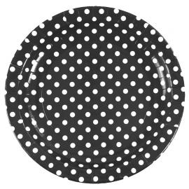 Assiettes noires pois blancs