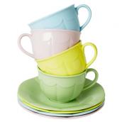 Tasses thé mélamine pastel Alice - Lot de 4