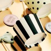 Caissettes cupcake rayures noires - Lot de 24