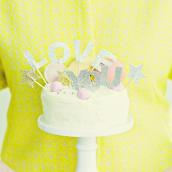 Cake topper set deco paillettes Love You