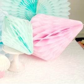 Décoration cristal papier rose - 50 cm