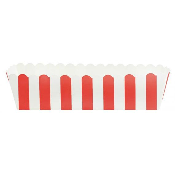 Moules gâteaux feston rayures rouges - Lot de 8
