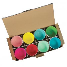 Photophores porcelaine pop color - Lot de 8