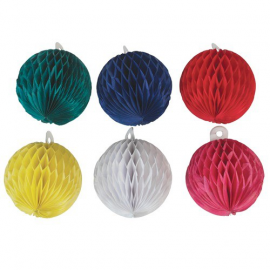Boules de noël papier color - Lot de 6