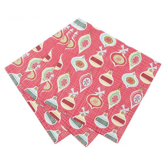 Serviettes papier noël boules rétro - Lot de 20