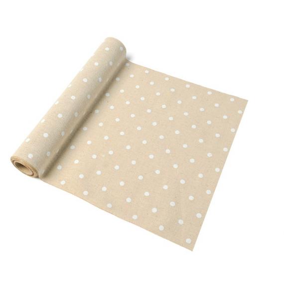 mariage rustique chic chemin de table lin pois blancs. Black Bedroom Furniture Sets. Home Design Ideas