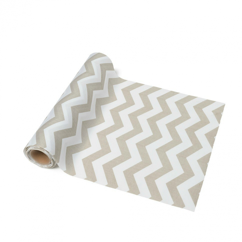 Decoration de table chemin de table chevrons gris - Chemin de table gris perle ...