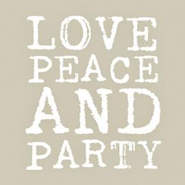 Serviettes papier love, peace & party taupe - Lot de 20