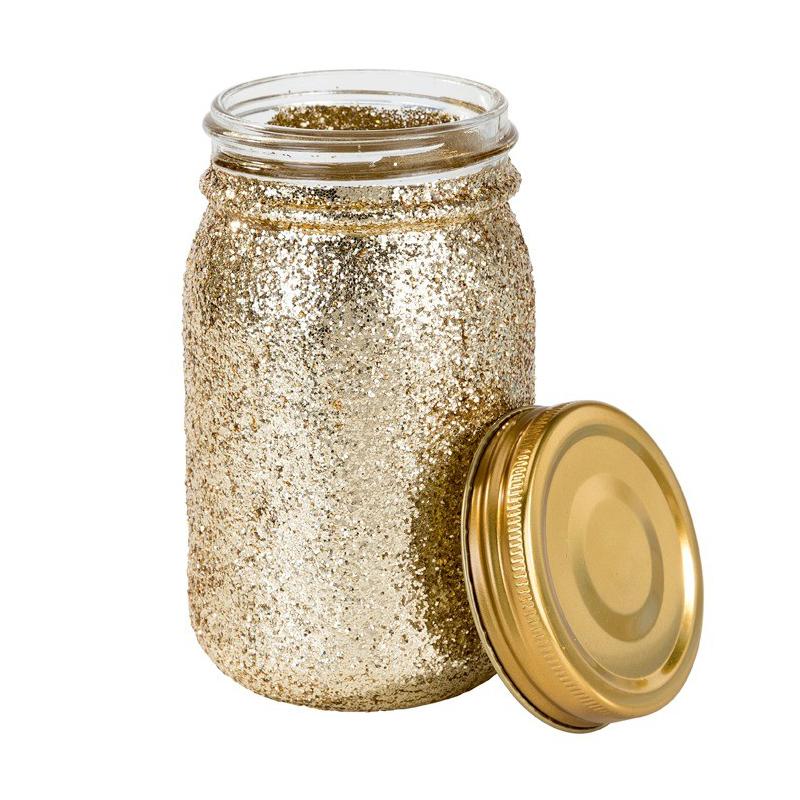 decoration de table pot bocal style mason jar paillettes or. Black Bedroom Furniture Sets. Home Design Ideas