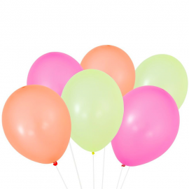 Ballons happy mix néon - Lot de 12