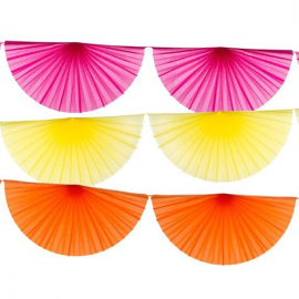 Guirlandes éventails color fiesta - Lot de 3