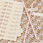 Stickers pailles drapeaux love shabby - Lot de 30