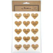 Stickers coeur kraft Love - Lot de 60