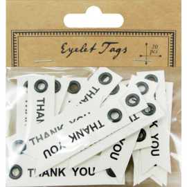 Etiquettes oeillets Thank you - Lot de 20