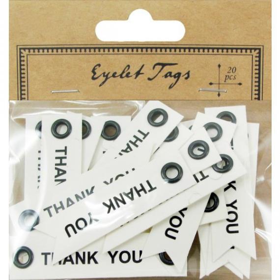 Etiquettes oeillets Thank you - Lot de 20
