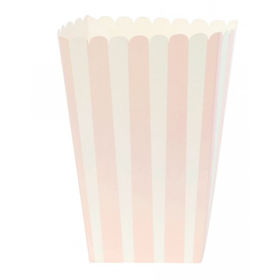 Etui popcorn rayures roses - Lot de 6
