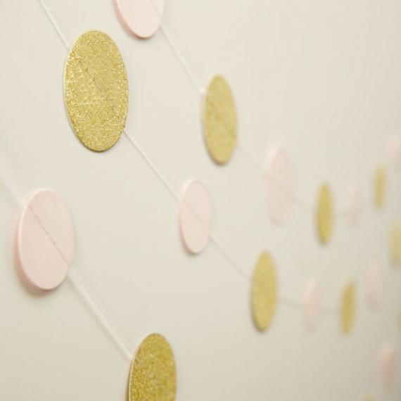 Guirlande de confettis glam rose & or